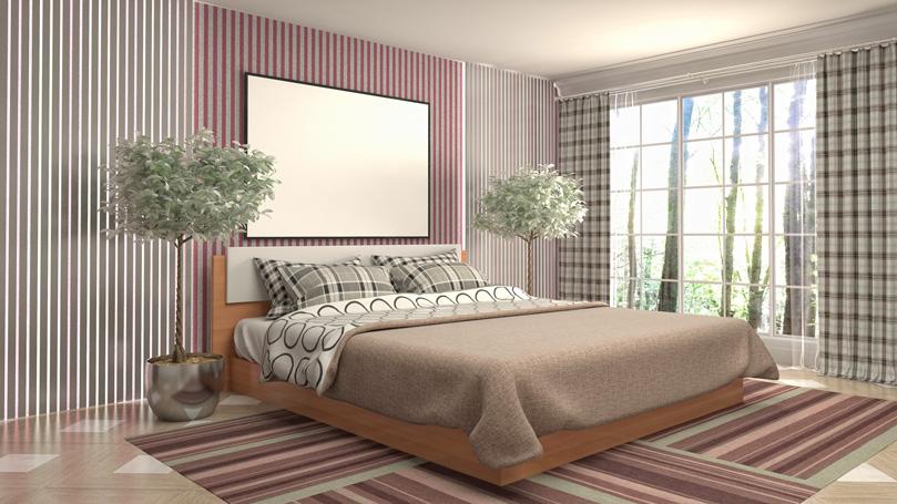 wooden bedframe in a bedroom
